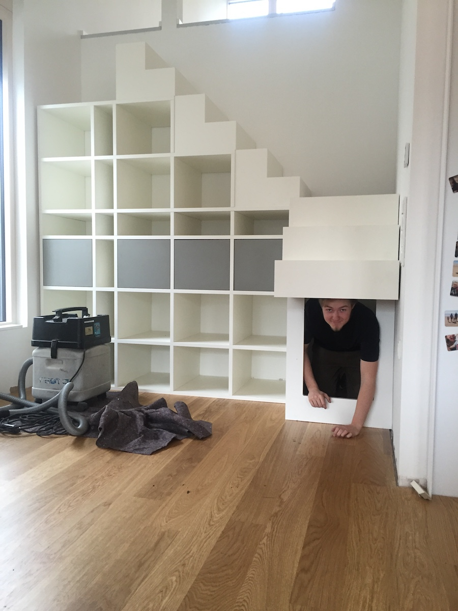 einbauschrank unter treppe innenausbau binder. Black Bedroom Furniture Sets. Home Design Ideas