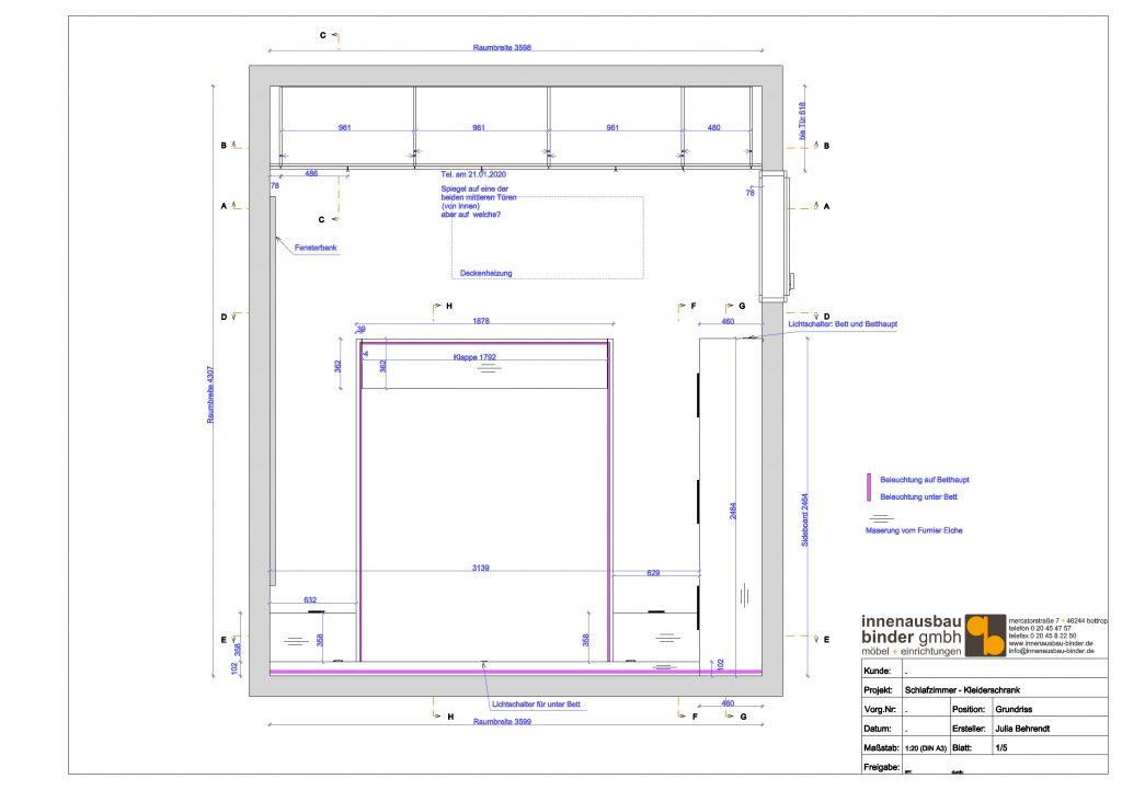 Grundriss Zeichnung Schlafzimmer