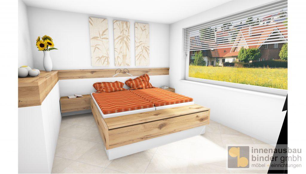 Entwurf Schlafzimmer nach Maß, Balkeneich und Schleiflack
