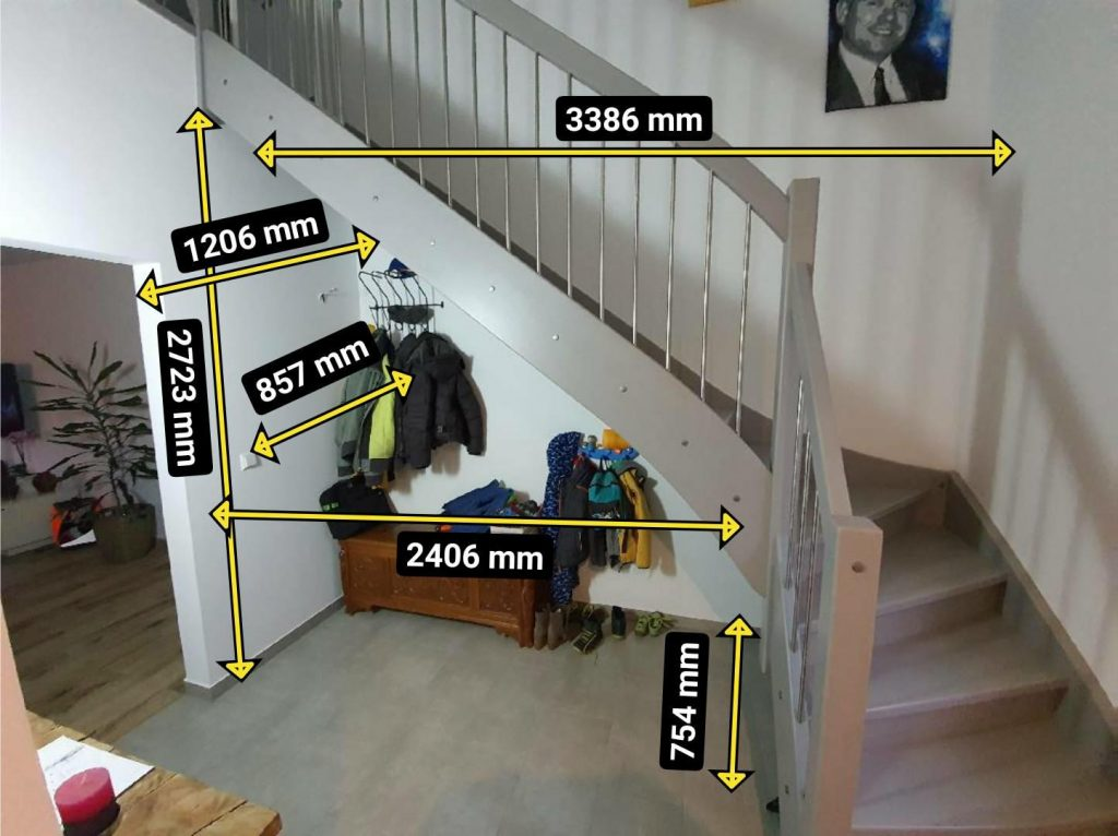 Aufmaß Treppenschrank