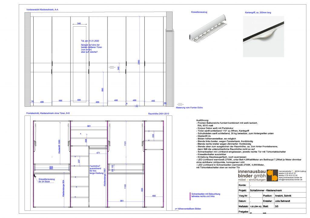 Detailzeichnung Kleiderschrank nach Maß